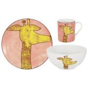 Детский набор из 3-х предметов Жираф: кружка, тарелка, миска