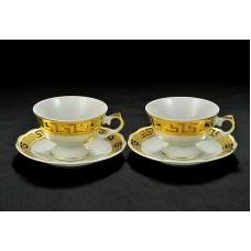 Чайная пара, с декором под золото