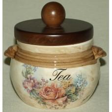 Банка для сыпучих продуктов с деревянной крышкой (чай)