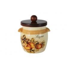 Банка для сыпучих продуктов с деревянной крышкой (сахар) Зимние яблоки