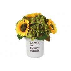 Декоративные цветы Подсолнухи в керамической вазе