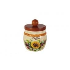 Банка для сыпучих продуктов с деревянной крышкой (кофе) Подсолнухи Италии