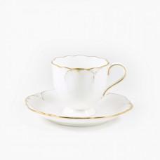 """Набор из 6 кофейных пар 100мл  """"Белый с золотом"""""""