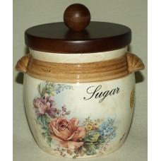 Банка для сыпучих продуктов с деревянной крышкой (сахар)