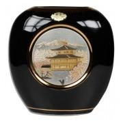 Ваза 18 см черная плоская Пагода в сакуре (silver)