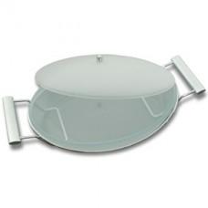 Блюдо овальное из матового стекла с крышкой 43,5х24,5х11 см