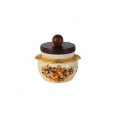 Банка для сыпучих продуктов с деревянной крышкой (чай) Зимние яблоки