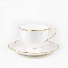 """Набор 6 чайных пар 250мл  """"Белый с золотом"""""""