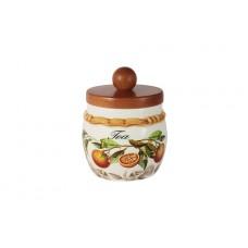 Банка для сыпучих продуктов с деревянной крышкой (чай) Апельсины
