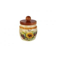 Банка для сыпучих продуктов с деревянной крышкой (чай) Подсолнухи Италии
