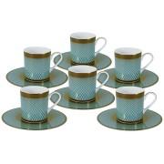 Кофейный набор Бирюза: 6 чашек + 6 блюдец