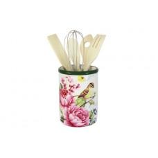 Банка-подставка для кухонных инструментов Цветы и птицы
