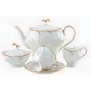 """Сервиз чайный на 6 персон, 17 предметов """"Белый с золотом"""""""