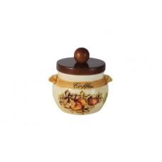 Банка для сыпучих продуктов с деревянной крышкой (кофе) Зимние яблоки