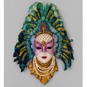 Венецианская маска ''Перо павлина'' 34 см