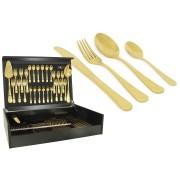 Набор столовых приборов 75 предметов на 12 персон Antique Titanium Gold в деревянной коробке