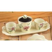 Набор: 2кофейные чашки+сахарница на подносе, Дл=30см