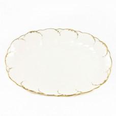 """Блюдо овальное 32см """"Белый с золотом"""""""