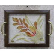 2 в 1: Поднос с цветами 24х30,рыжий лист-настенное украшение