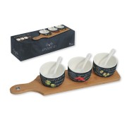 Набор для закуски: 3 чаши (8см) с ложками, поднос