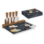 Набор для сыра: разделочная доска (стекло) + 4 ножа Мир сыров