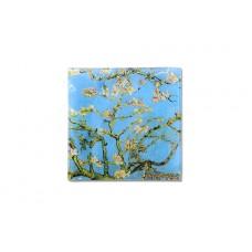 Тарелка квадратная Цветущий миндаль (Ван Гог) 13х13 см